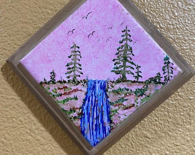 """Framed Tile Painting Original Hand Painted Signed Alcohol Ink 3.5x3.5"""" Tile in Custom 5x5"""" Diagonal Wood Frame Landscape Pink Sky 1 of 1"""