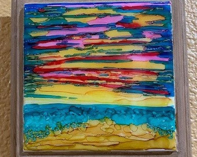 "Framed Tile Painting Original Hand Painted Signed Alcohol Ink 3.5x3.5"" Tile in Custom 5x5"" Wood Frame Seascape Sunset 1 of 1 super rare"
