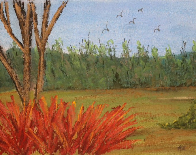 8x10 signed original pastel one of a kind landscape hand painted orange flowers trees in a meadow multi colored Not a Print flock of birds