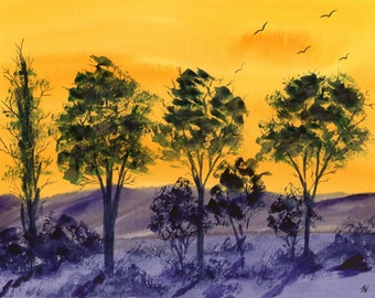 Fire in the Sky original watercolor one of a kind 9x12 landscape hand painted bright orange yellow fiery sunset birds tree silhouette purple