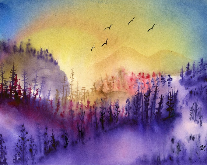 Majestic Valley original watercolor one of a kind 9x12 landscape hand painted bright purple yellow fiery sunrise birds tree silhouette hills