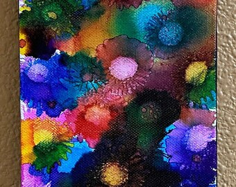 Original Alcohol Ink Painting 5x7 box framed abstract air brush art desk size one-of-a-kind canvas painted random flowers, vibrant rainbow