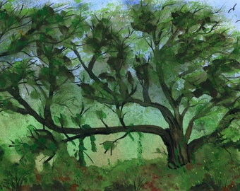 Tree in a Meadow signed original watercolor one of a kind 7.5x10.5 landscape hand painted blue sky lush green plants trees Not a Print birds