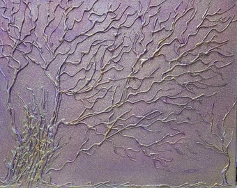 """16x20 """" Rebirth Sparkle Purple Pink Glue Tree 3-D Acrylic Painting Box Frame Bare Branches Enchanted Forest Fairy Tale Series Hand Painted"""