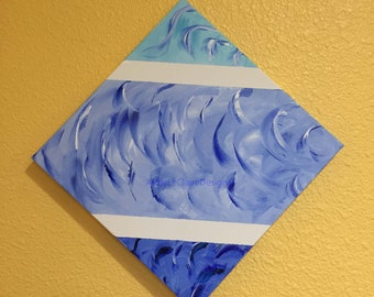 Essence of Blue new original acrylic painting abstract wrapped canvas three colors of blue with white strips.  Hang either way. Surrealism