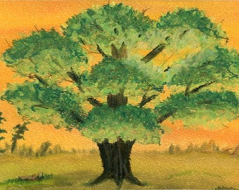 Sunset Tree oil pastel painting green leaves orange sky one of a kind 8.5x11 black mat ready to frame authenticity paperwork signed original