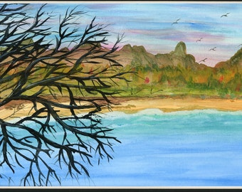 Autumn Coast 3 Watercolor Landscape Seaside Painting - one of a kind art 9x12 inch original not a print cliffs beach waves pink sky Matted