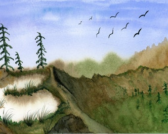 Sand Dunes original watercolor one of a kind 10x7 landscape birds trees serene peaceful rocks mountains ArtByLeClaireDesigns blue sky pine