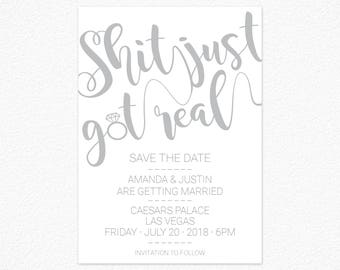 Shit Got Real Invite Etsy - Funny save the date templates