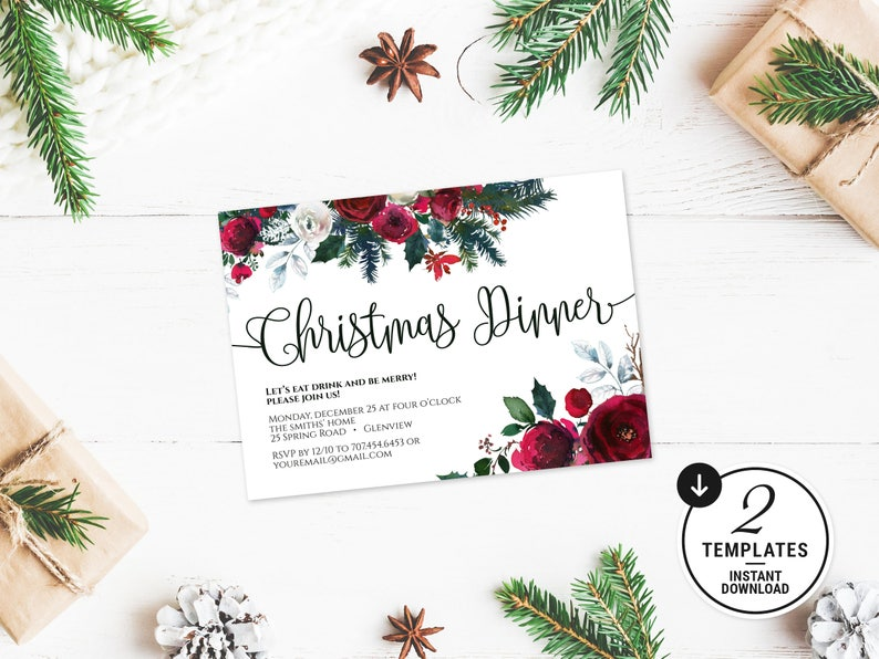 Christmas Dinner Invitation Template Printable Holiday Party