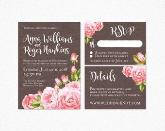 Printable Wedding Invitation, Rose Wedding Invitation, Floral Wedding Invitation, Pink Roses Wedding Invitation, Vintage Rose Invitation