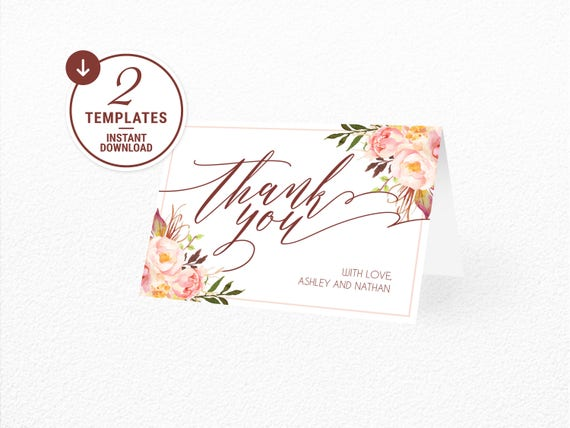 Thank You Card Thank You Card Template Floral Thank You Etsy