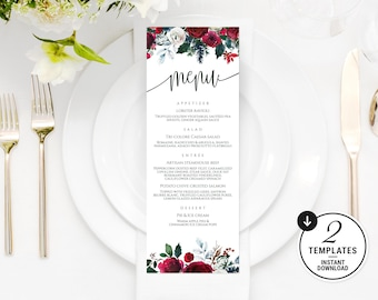 Printable Wedding Menu, Winter Wedding Menu, Christmas Dinner Menu, Wedding Menu Template, Burgundy Menu Cards, Marsala Wedding Menu