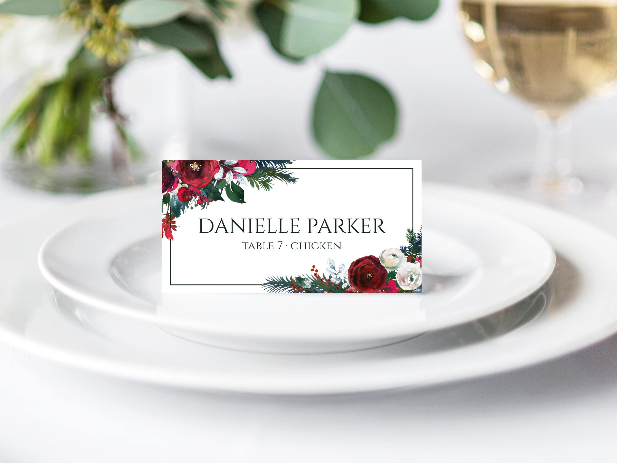 Winter Wedding Place Cards Printable Place Cards Christmas | Etsy