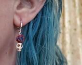 Tattoo Rose Skull Earrings white red blue, huggie hoop, day of the dead sugar skulls dia de los muertos jewelry tattoo TAACO