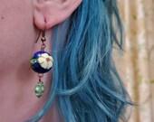 Flower Skull Earrings Ceramic flowers howlite blue green red yellow, day of the dead sugar skulls dia de los muertos jewelry TAACO
