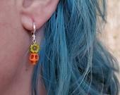 Small Flower Skull dangle Earrings Orange green pink silver huggie hoop, day of the dead sugar skulls dia de los muertos jewelry TAACO