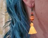 Tassel Skull Earrings calaveras orange neon tassel, day of the dead, sugar skulls dia de los muertos jewelry punk goth tattoo TAACO