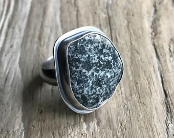 Oxidized silver beach stone ring