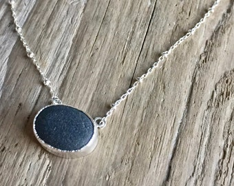 black beach stone necklace with cable bead chain