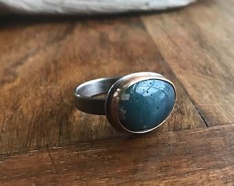 14K Oxidized Silver Leland Blue Ring