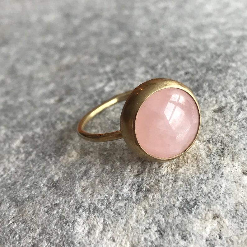 10mm Rose quartz stack ring size 8 image 0