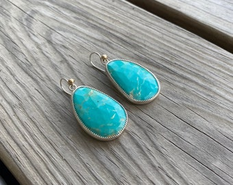 Sterling and 14k Rose cut turquoise earrings.
