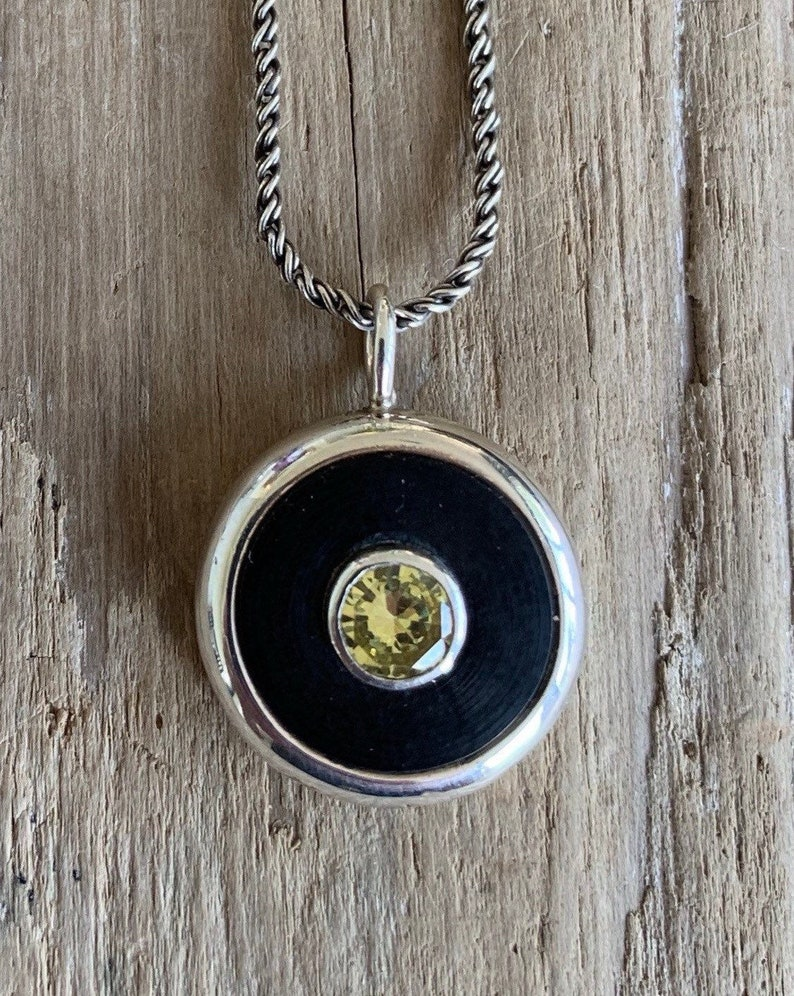 Black rubber washer yellow cubic zirconia necklace image 0