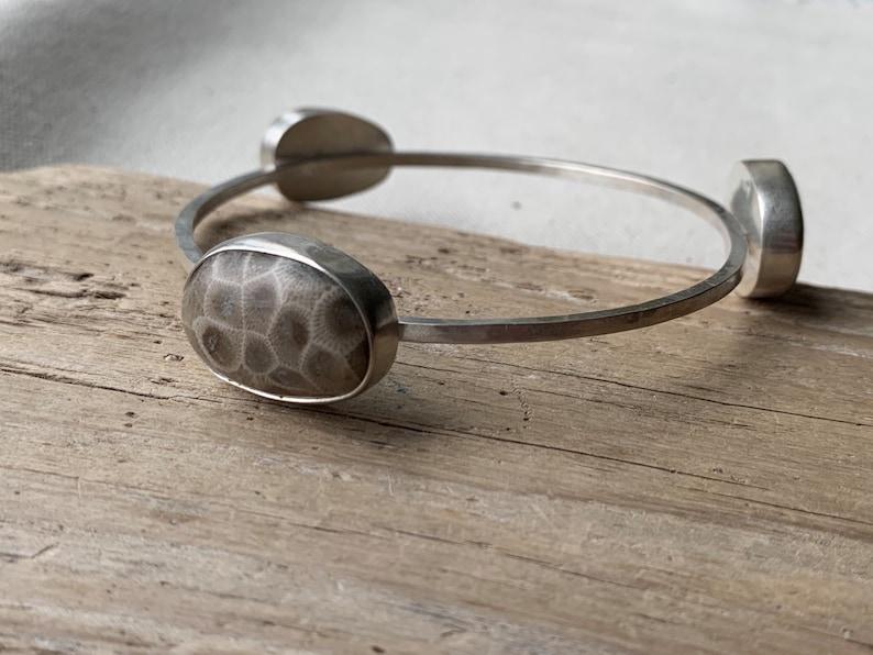 Petoskey and beach stone bangle image 0