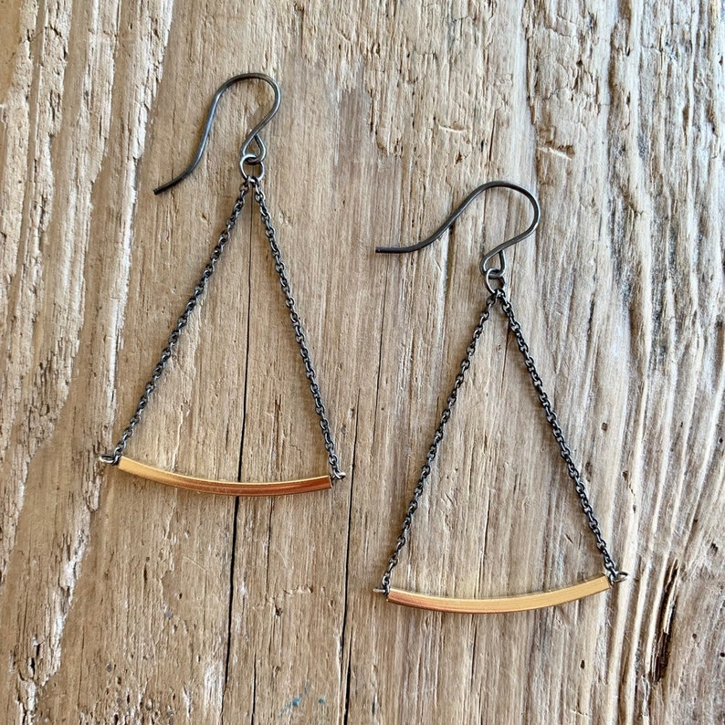Oxidized silver gold bar earrings image 0