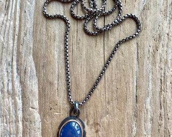 14k and Oxidized silver Leland Blue box chain necklace