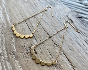 Made to order, Scallop drop dangle earrings available in sterling silver and 14k gold plated silver.