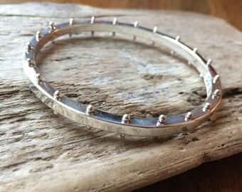 Sterling Silver Spine Bangle Bracelet