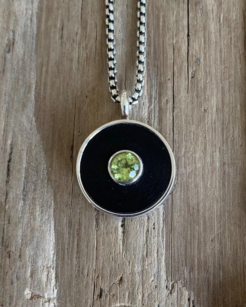 Rubber washer peridot pendant necklace image 0