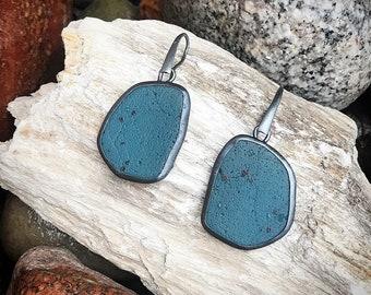 Leland Blue Slice Dangle Earrings set in oxidized silver
