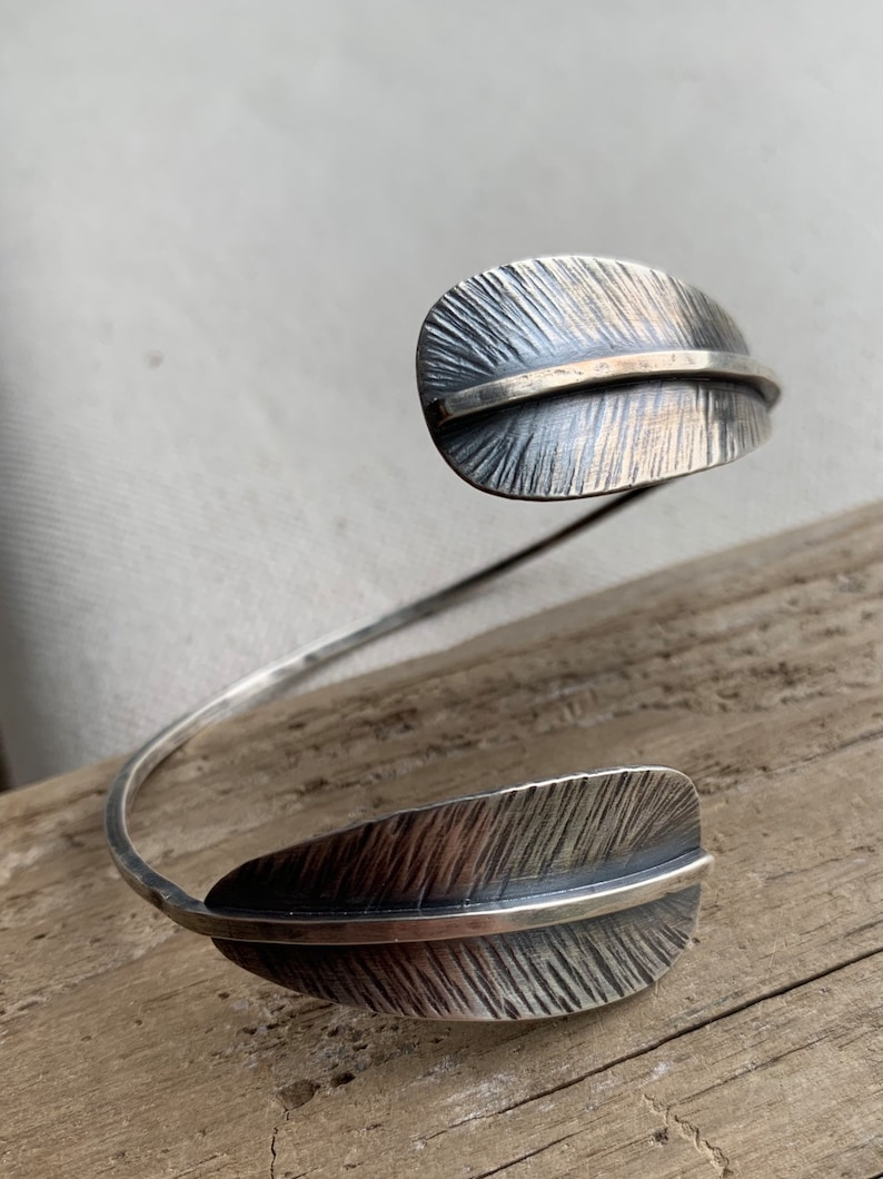 Feather wrapped cuff bracelet image 0