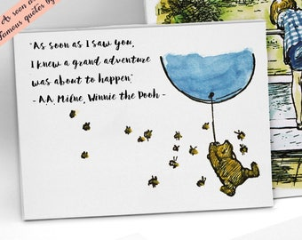 Winnie The Pooh Quote Print Wall Art canvas, As Soon As I Saw You, Grand Adventure, Winnie the Pooh