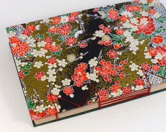 A5 Red Floral Pattern Japanese Washi Handbound Hardcover Coptic Journal Sketchbook Notebook - dotted writing paper