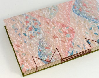 A5 Pastel Leaves in Wind Japanese Washi Handbound Hardcover Coptic Journal Sketchbook Notebook - dotted writing paper