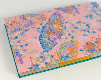 A5 Pink Fans Psychedelic Japanese Washi Handbound Hardcover Coptic Journal Sketchbook Notebook - dotted writing paper