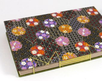 A5 Floral Pattern Japanese Washi Handbound Hardcover Coptic Journal Sketchbook Notebook - dotted writing paper