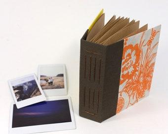 Orange Tropical Flowers Hardcover Handbound Instax Mini or Wide Film Album - Kraft Cardstock with Black Photo Corners