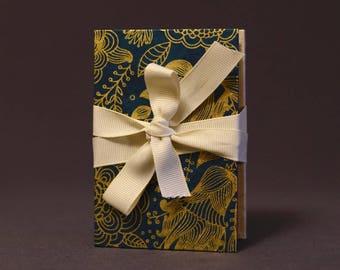 Gold Botanical on Blue Hardcover Handbound Instax Mini Film Accordion Album - Kraft Cardstock with Black Photo Corners