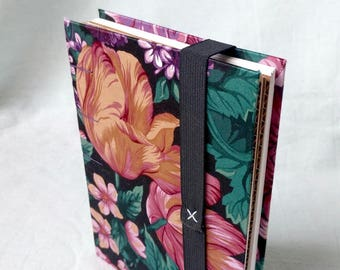 Built-In Plant Press Book - Big Floral Print Upcycled Fabric