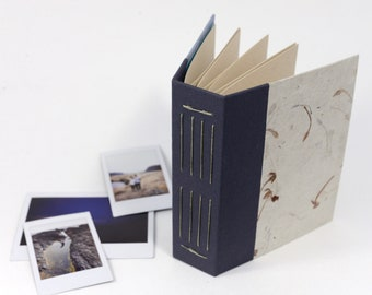 Ixora Flower Inclusion Hardcover Handbound Instax Mini or Wide Film Album - Cardstock with Black Photo Corners