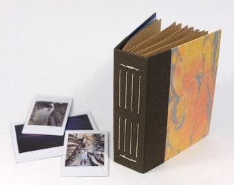Marbled Silver on Orange Hardcover Handbound Instax Mini or Wide Film Album - Kraft Cardstock with Black Photo Corners