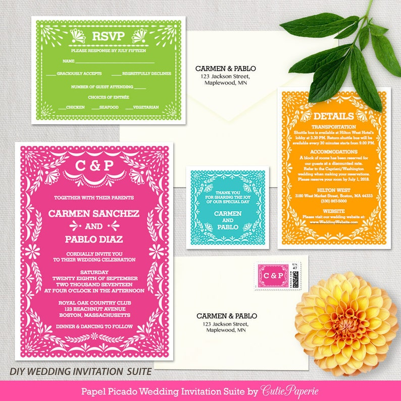 Wedding Invitation Template Latina Papel Picado DIY Editable Printable Instant Download Word Or Pages