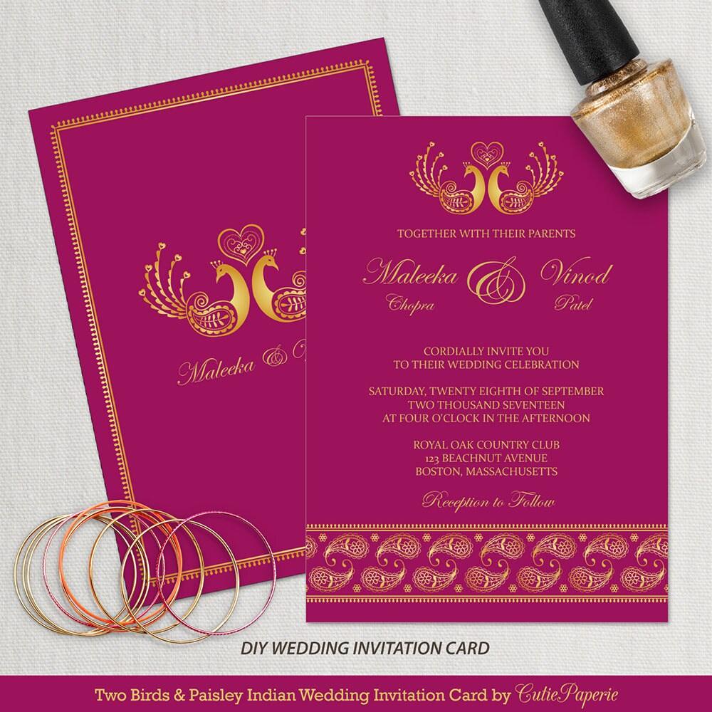 Wedding Invitation Template Indian Wedding Invitation DIY | Etsy