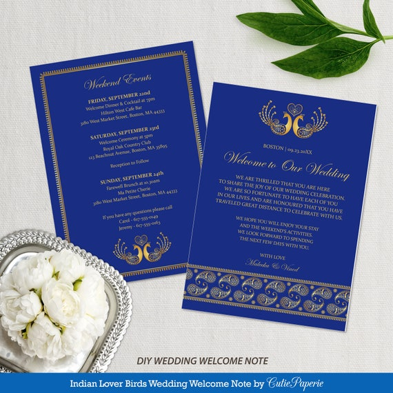 welcome note for indian wedding