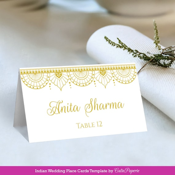 Wedding Place Cards Printable Diy Wedding Place Card Indian Wedding Place Card Template Hindu Wedding Place Card Instant Download
